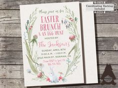 Easter Brunch Invitation, Easter Egg Hunt Invitation, Watercolor Easter Invitation, Easter Brunch Party, Printable Invitation for Party by RockCreekPaperCo on Etsy