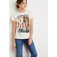 Forever 21 Rock N Roll Graphic Tee ($13) ❤ liked on Polyvore featuring tops, t-shirts, short sleeve t shirts, lightweight t shirts, holiday graphic tees, ripped t shirt and forever 21