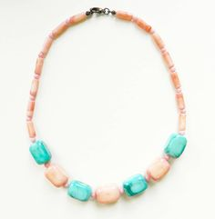 Mint and Coral Pastel Vintage Necklace / Beaded Pastel Necklace / Candy Delicious Summer Necklace by thehappyforest on Etsy