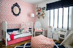 Coral, Navy and Gold Toddler's Room