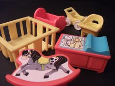 Fisher-Price Nursery set - Fisher-Price #761 - Crib - Cradle - High Chair - Changing Table -Rocking Horse -Play Pen - Stroller by NostalgicToyStories on Etsy