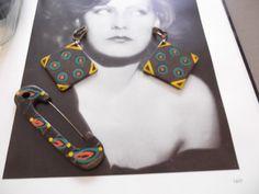 Vintage 1930s Earrings Brooch Pin Set Of by GoodGoodyGirlsJewels, $110.00