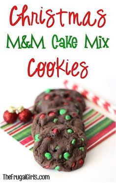 Making these for the christmas cookie exchange coming up!!  Christmas M&M Cake Mix Cookies