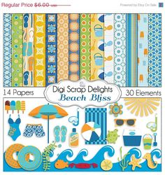 40 Off SALE Beach Digital Scrapbook Kit in by DigiScrapDelights