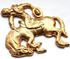 1 Vintage Rodeo Horse Rider Brass Stampings by ifoundgallery, $2.50