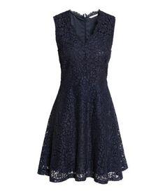 V-ringad spetsklänning   Mörkblå   Dam   H&M SE
