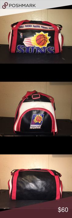 Vintage Phoenix Suns NBA Leather Gym Bag! Very rare official licensed vintage NBA leather gym bag. Has a few minor discrepancies as described on the pictures. It  measures 17 inches long, 10 1/2 inches deep and 12 inches high.  It has a side pocket for shoes, a top zipper, a hand strap that closes with snaps and a shoulder strap. NBA Bags Duffel Bags