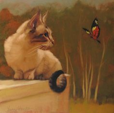 Cat & Butterfly IV, painting by artist Diane Hoeptner