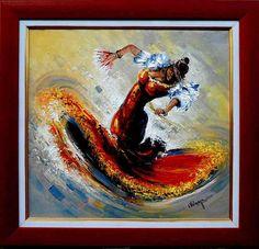 Items similar to Decorative oil painting on canvas, textured palette knife portait - Flamenco dancer on Etsy Flamenco Dancers, Palette Knife, Oil Painting On Canvas, Original Paintings, Workshop, Texture, Frame, Artist, Handmade