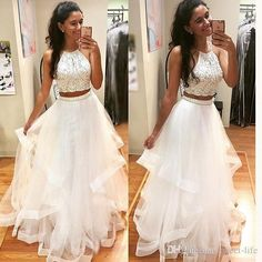 White Two Pieces Prom Dresses Spaghetti Straps Beading Ruffles Organza 2017 Evening Gowns Long Pageant Party Queen Dress College Graduation Prom Dresses Two Pieces Evening Gowns Online with $139.0/Piece on Sweet-life's Store | DHgate.com