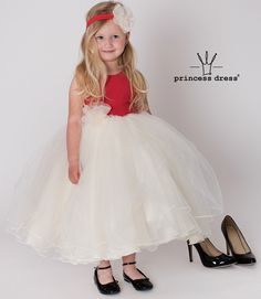 Girls Red Princess Dress with tulle skirts and flower. For small and larger bridesmaids. Girls Dresses, Flower Girl Dresses, Limited Collection, Princess Style, Dress Collection, Simple Designs, Daughter, Tulle Skirts, Formal