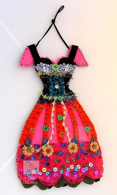 tiny beaded dress Made from felt, decorative paper, sequins, beads, fibres,   lace (was for purchase is sold)