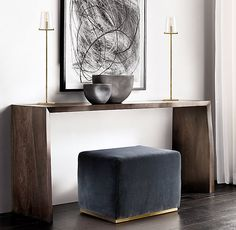 Waterfall Live-Edge Console Table and slate velvet stool with brass base