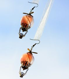 Hot Air Balloon Steampunk Earrings in Peach by singlewhitepixel, $80.00