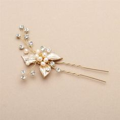 Bridal Hair Pin with Silvery Gold Leaves, Freshwater Pearl and Crystal Sprays
