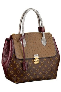 add3db239e74 Louis Vuitton Majestueux Tote MM With Ostrich Leather Flap.