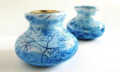 Blue Willow Dill Candle Holders Set of two by BlueStoneDoorStudios