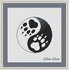Cross Stitch Pattern Cat (Silhouette of black Cat tracks monochrome) Counted Cross Stitch Pattern / Instant Download Epattern PDF File