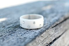 Antler crystal wedding band, unique swedish antler jewelry by NORDICJEWELRY on Etsy