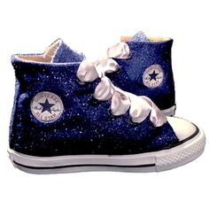 Kids Sparkly Glitter Converse All Stars Bling Crystals Flower Girls  birthday Shoes Navy Blue 77865daf14e7