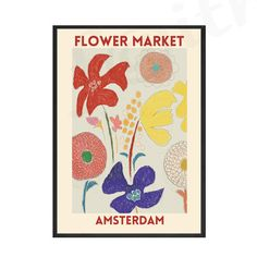Vintage Colorful Flower Market Poster Exhibition Style Nordic Wall Art Print on Canvas Modern Painting Living Room Home Decor - 40x50cm No Frame / 2.no border default