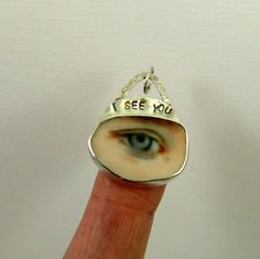 Eye See You - Up Cycled  Sterling Silver And A Ceramic Piece - Art Jewelry Pendant - 1055 via Etsy