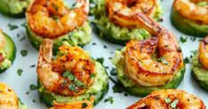 The spicy shrimp is then served on top of crispy and cool cucumber slices along with a