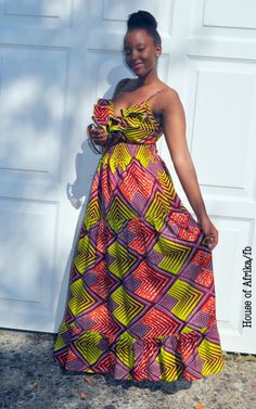 African Print Maxi Dress with ruffles at the bust