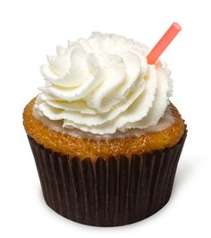 Root Beer Float – An Oh My Cupcakes! original! Our secret special root beer cupcake smothered in luscious root beer icing, then topped with fresh whipped cream and dressed up with a straw.