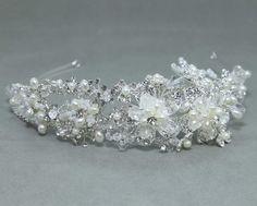 Silver Bridal Wedding Bride Rhinestone Crystal Handmade Pearl Hair Headband