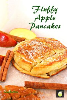 Fluffy Apple Pancakes. Delicious, quick and easy recipe and these are certainly fluffy! Serve warm with a sprinkling of sugar and a dash of cinnamon.   Come and read about the inspiration behind this!