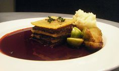 Denis Cotter's braised turnip galette of portobello mushrooms and chestnuts with a red wine sauce