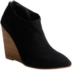 $82, Black Suede Pointed Toe Hurley Wedge Ankle Boots by Madison Harding. Sold by Bluefly. Click for more info: http://lookastic.com/women/shop_items/94313/redirect