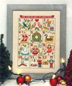 12 Days of Christmas Cross Stitch Pattern Instant Download – Tiny Modernist Cross Stitch