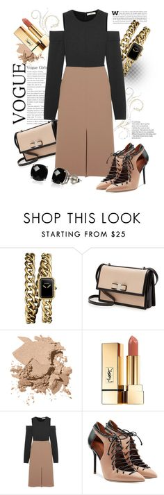 """""""A touch of nude"""" by atie-212 ❤ liked on Polyvore featuring Chanel, Salvatore Ferragamo, Bobbi Brown Cosmetics, Yves Saint Laurent, TIBI, Malone Souliers and Belk & Co."""