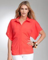 #bebe Silk Kimono Button Down Blouse  chiffon blouse #2dayslook #new #chiffonfashion  www.2dayslook.com