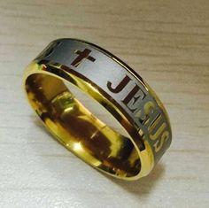 Titanium Steel 18K Gold Plated Jesus Cross Unisex Ring