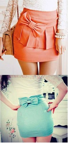 High waisted skirts with bows.