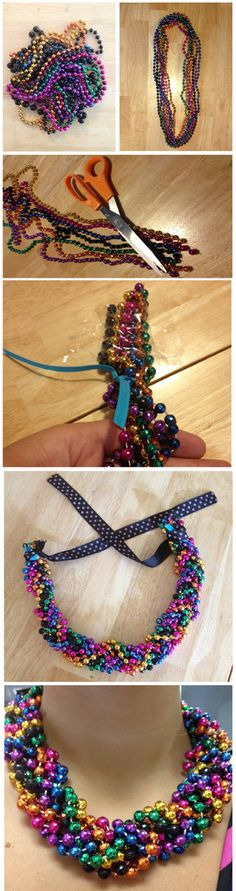 17 cool things you can do with your Mardi Gras beads ., 17 Cool to de. - 17 cool things you can do with your Mardi Gras beads …, 17 Cool to deal with gras - Mardi Gras Outfits, Mardi Gras Costumes, Mardi Gras Beads, Mardi Gras Party, Braided Necklace, Beaded Statement Necklace, Diy Necklace, Pearl Necklaces, Bead Crafts