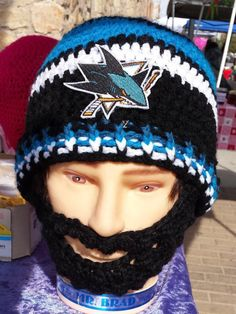 6e09f372ff0  etsy shop  San Jose Sharks Bearded Beanie