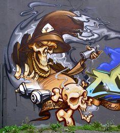 Graffiti 526 by *cmdpirxII street art - mural - character Amazing Street Art, Best Street Art, 3d Street Art, Street Art Graffiti, Graffiti Piece, Graffiti Artwork, Graffiti Drawing, Spray Can Art, Graffiti Characters