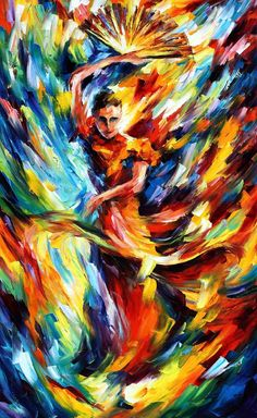 "FLAMENCO — Palette knife Oil Painting  on Canvas by Leonid Afremov  - Size 24""x40"""