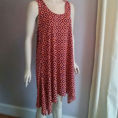 Geometric Dress Coverup Soft and floaty nylon dress or tunic. Can be worn as a cover-up. Cut away sleeves with slight racer back. Tag says one size. More like M/L India Boutique Dresses Midi