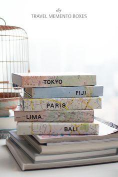 Make travel memento boxes a pair and a spare www.apairandasparediy.com reciclando caixas de dvd para fazer caixa de recordação
