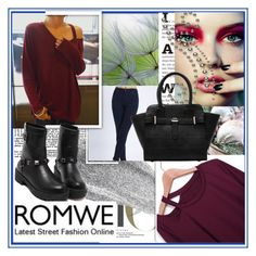 """ROMWE"" by damira-dlxv ❤ liked on Polyvore featuring Art for Life and Black Rivet"