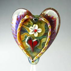 Heart Lampwork Bead by Georgie Field of the Glass Owl