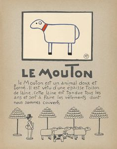 Sheep Art Print for Children - Le Mouton - Vintage Print Reproduction