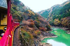 秋の京都から紹介したいのが、嵯峨野トロッコ列車です。渡月橋(とげつきょう)や、嵯峨野竹林(さがのちくりん)が有名な嵐山にあります。保津川沿いの紅葉を堪能しましょう。