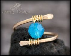 Brass and Swarovski Crystal Hand Forged Ring by LEJewelryDesigns #lejewelrydesigns #wirewrapped #handmadering