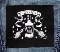 For those who love whiskey!    A sew-on patch  Hand printed screenprint  Washable  White ink on black fabric  Approximately 5 x 5 inches